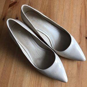 ALDO Caradonna Nude Leather Small Heel Pumps 8